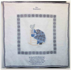 A quilt made in honor of the 200th anniversary of the U.S. Constitution