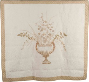 Leaf-pounded quilt with Grecian Urn at center