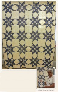 California Star Quilt and Bettye holding book that featured it on the cover