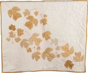 Quilt with Wind-blown leaves